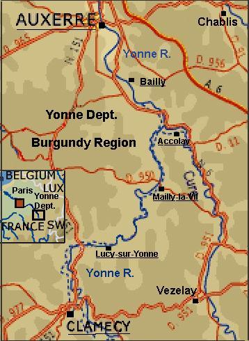 Map Of Yonne France.When You Go Barging In Burgundy France