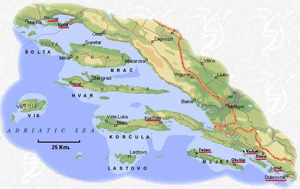 Map Of Dalmatian Islands Croatia