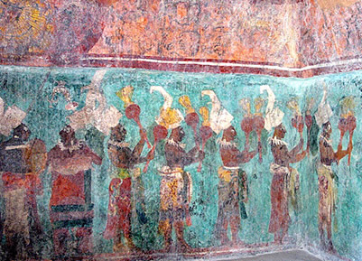 Chiapas bonampak temple frescoes for Bonampak mural painting