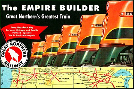 Empire Builder poster from the 1950s